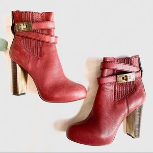BCBGMaxAzria Shoes - BCBGMaxAzria | leather stacked heel ankle boots 6